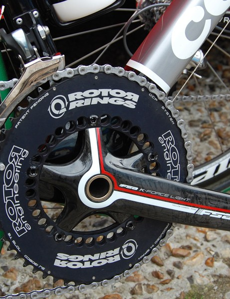 Haussler was also the only TestTeam rider to use Rotor Q-Rings for Paris-Roubaix while the rest were on round rings. All of the riders were on FSA cranks