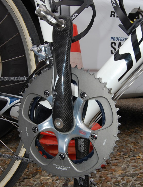 Saxo Bank bikes were fitted with Specialized S-Works carbon cranks...