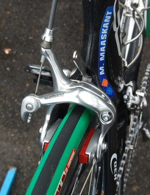 The additional clearance requires use of long-reach brake calipers, here fitted with Corima carbon-specific pads.