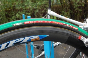 Vittoria's cushy 27mm-wide Pavé tubulars offer an almost unbelievably smooth ride.