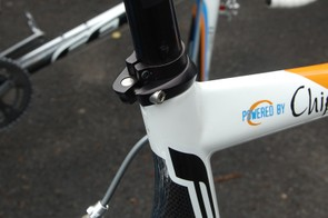 A supplemental clamp on the seatpost offers a bit of extra insurance against slippage.