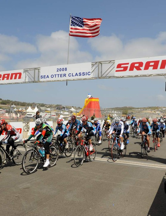 The women's pro peloton rolls in 2008.