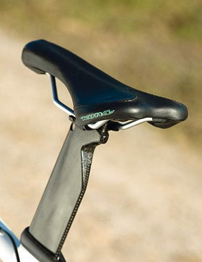 The carbon seatpost adds a quality touch to the kona, but the fit was gappy with the frame on our bike