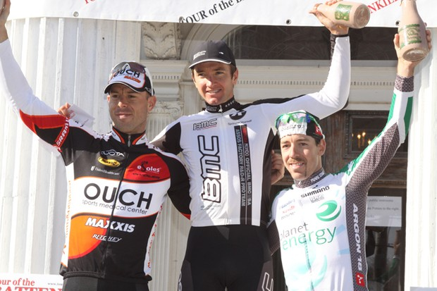 Battenkill Day 2 podium (L-R): Karl Menzies (OUCH-Maxxis), Scott Nydam (BMC), and Francois Parisien (Planet Energy).