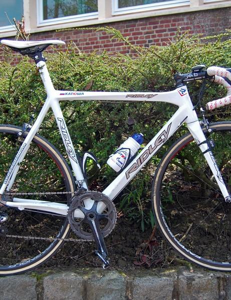 Filippo Pozzato (Katusha) came oh-so-close in this year's Paris-Roubaix aboard a custom Ridley Damocles Pi