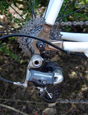 The new rear derailleur's updated linkage plates are said to be stiffer and more precise than before