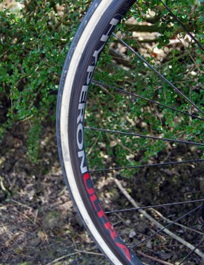 Low-profile Campagnolo carbon rims presumably offer a smoother ride over the cobbles than deeper ones