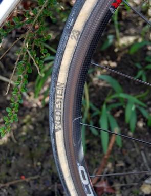 Pozzato's tyres bore an aggressive file tread for more grip on the cobbles