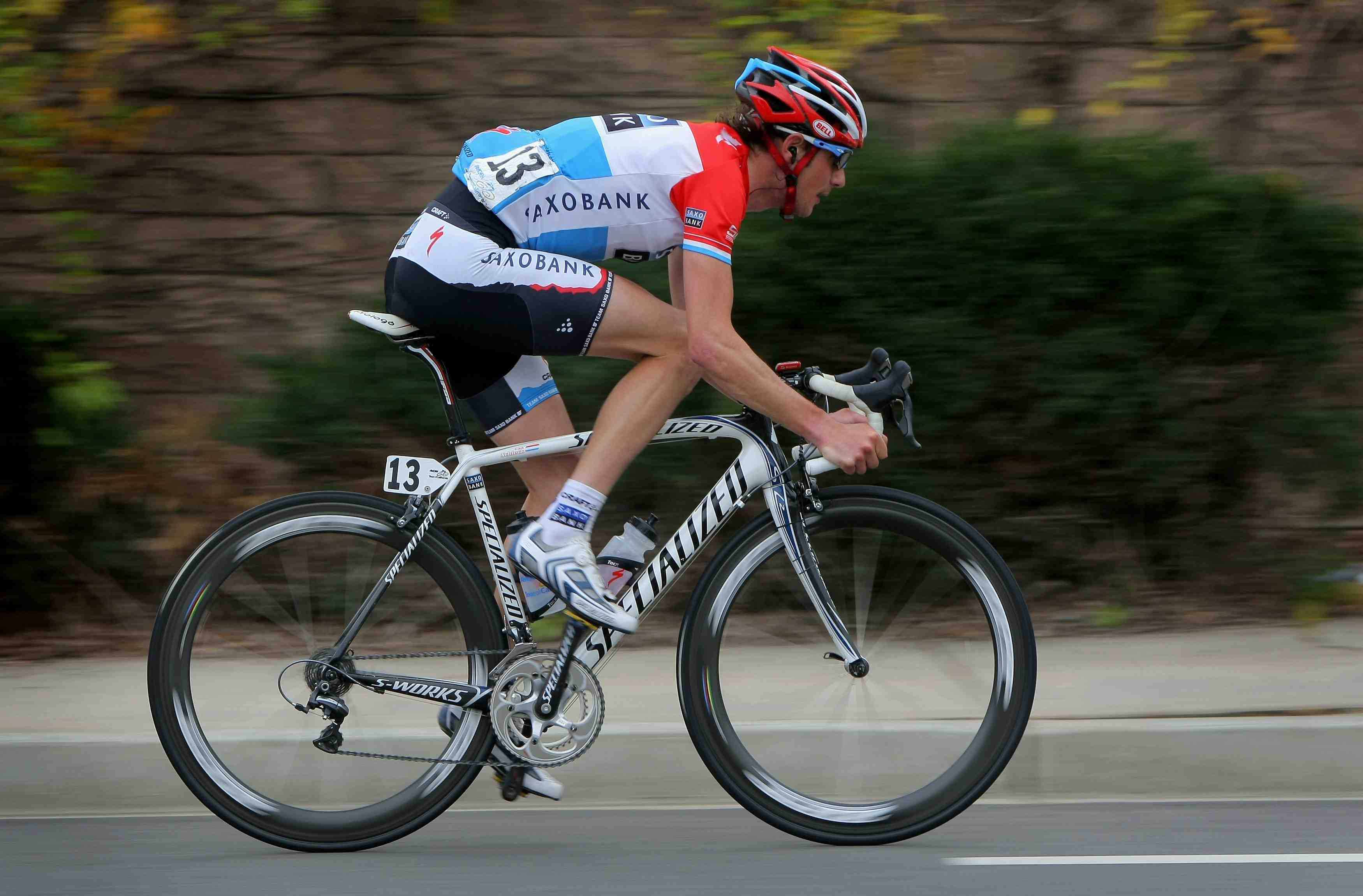 Luxembourg's Frank Schleck (Saxo Bank) makes his way through the streets of Escondido enroute to victory in Stage 8 of the AMGEN Tour of California on February 22, 2009.