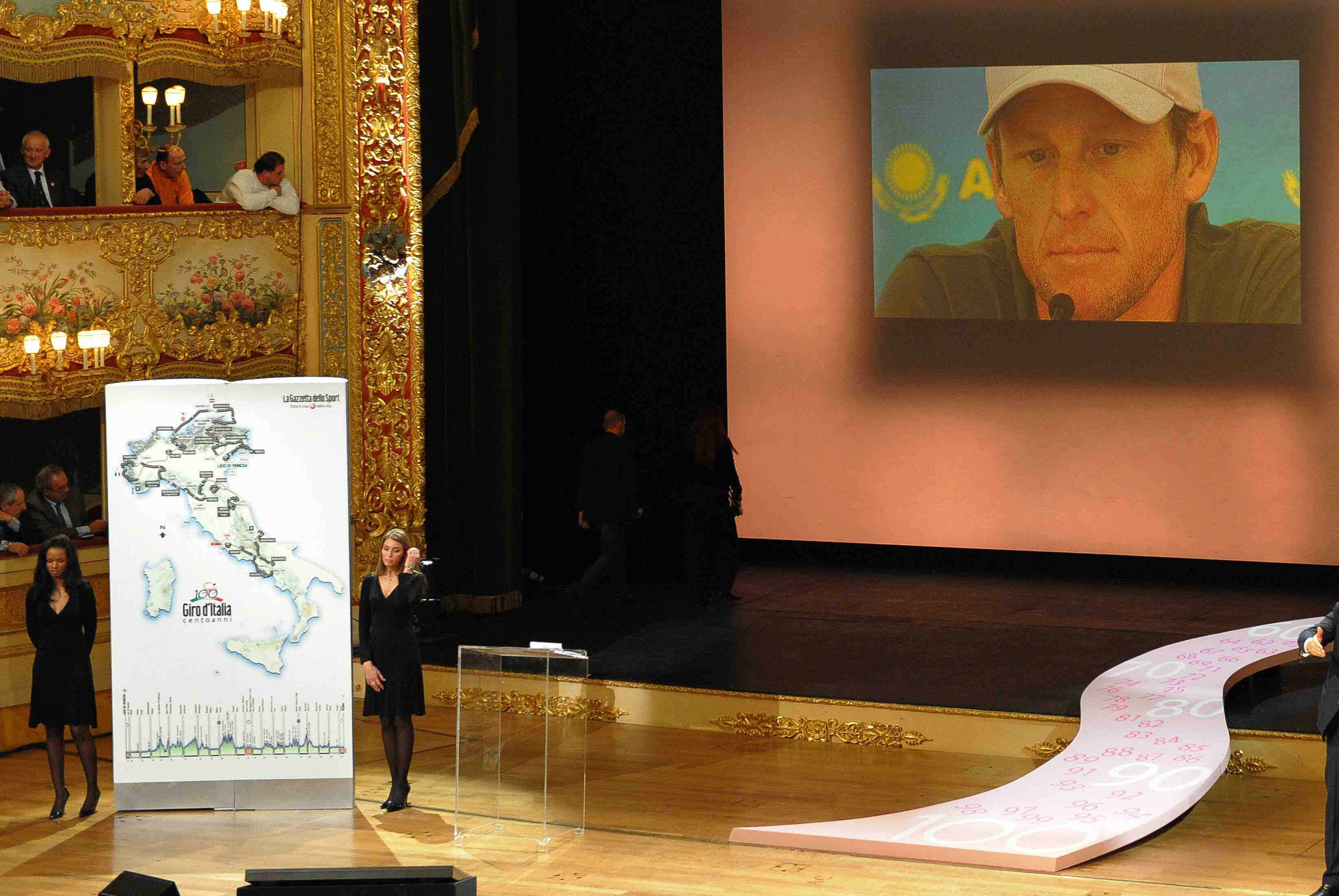A video showing an interview of Lance Armstrong/Wizard of Oz is presented during the 100th Giro d'Italia on December 13, 2008 at the La Fenice Theatre in Venice.
