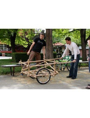 Specialized's Design Manager Barley Forsman (R) checks out a bamboo cart prototype at San Jose State University on April 13, 2009.