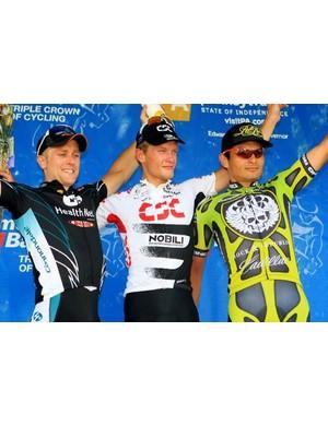 The 2008 podium (l-r): Kirk O'Bee (Health Net p/b Maxxis), Matti Breschel (Team CSC) and Fred Rodriguez (Rock Racing).