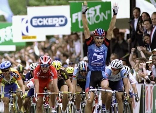 George Hincapie (US Postal Service) wins the Liberty Classic US Pro Championships in Philadelphia, Pennsylvania on June 7, 1998.
