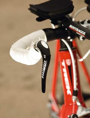 The neatly designed levers from Trek's in house  Bontrager brand provide comfortable braking