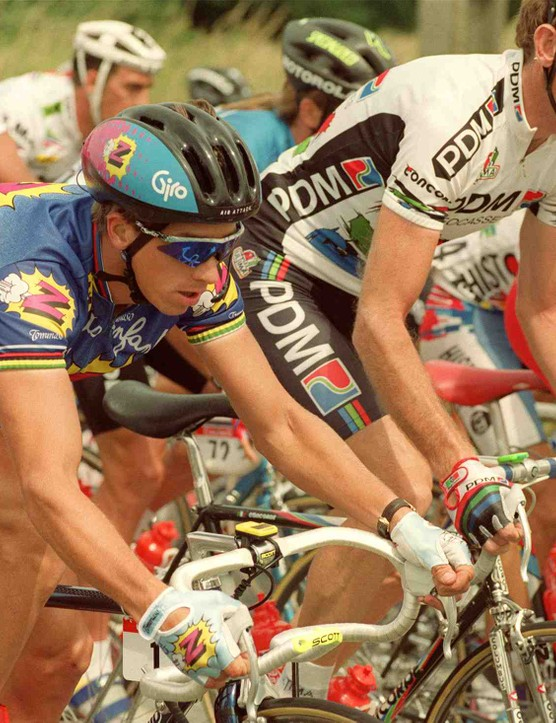 Greg LeMond (left) and Sean Kelly race side-by-side during the 1991 Tour de France