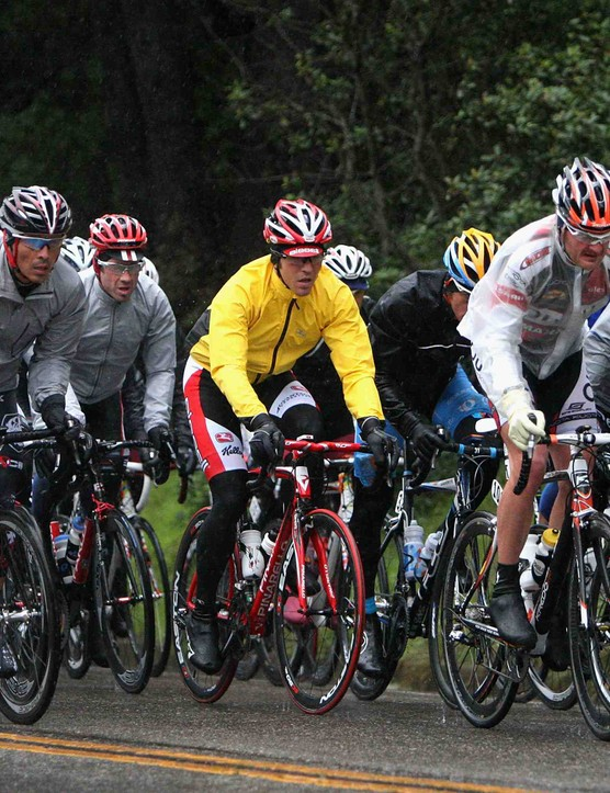 American Floyd Landis (second from right) rides next to Tyler Hamilton on stage two of the 2009 Tour of California