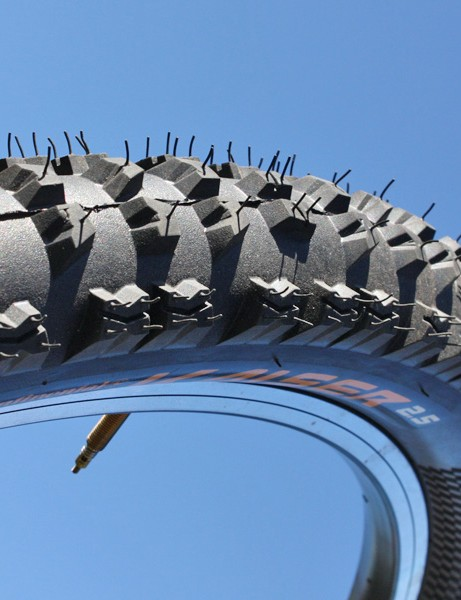 Continental's new Kaiser features an aggressive downhill-specific tread and a reinforced double-wall casing
