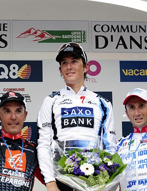 Joaquin Rodriguez (2nd), Andy Schleck (1st) and Davide Rebellin (3rd)