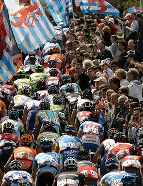 The peloton in action up one of the many steep climbs that characterise Liege-Bastogne-Liege