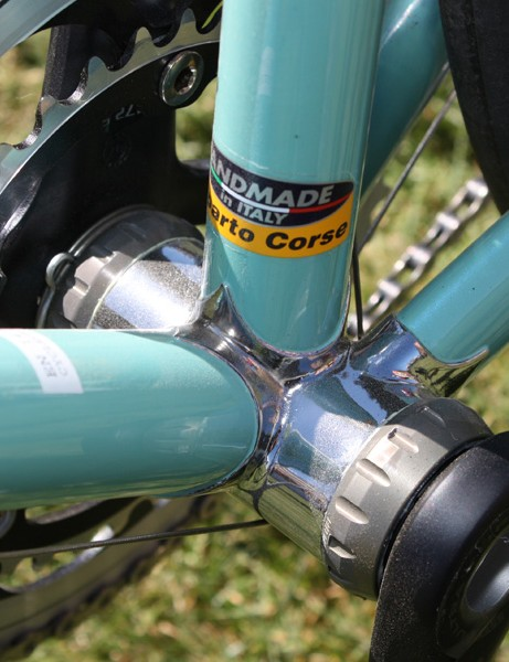 The chromed bottom bracket lug is home to Campagnolo external-bearing cups