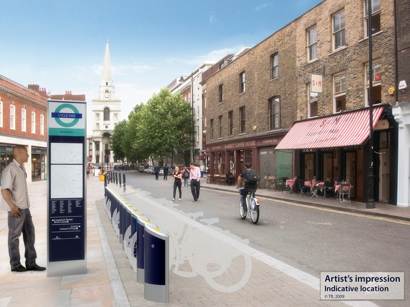 Artist's impression of the London Cycle Hire scheme