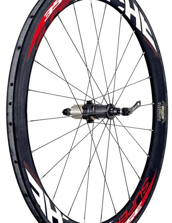 The Miche Supertype 358 carbon tubular rear wheel.