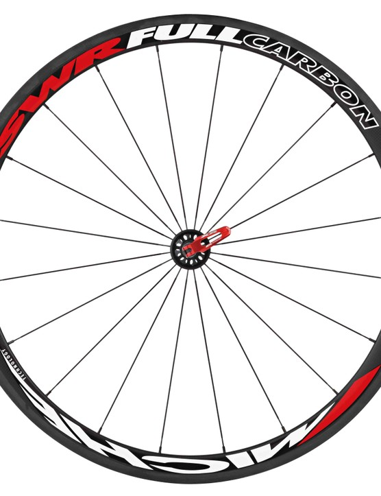 The Miche SWR Full Carbon tubular front wheel.