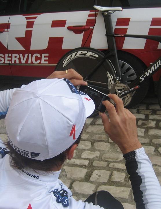 Fabian Cancellara captures the moment.