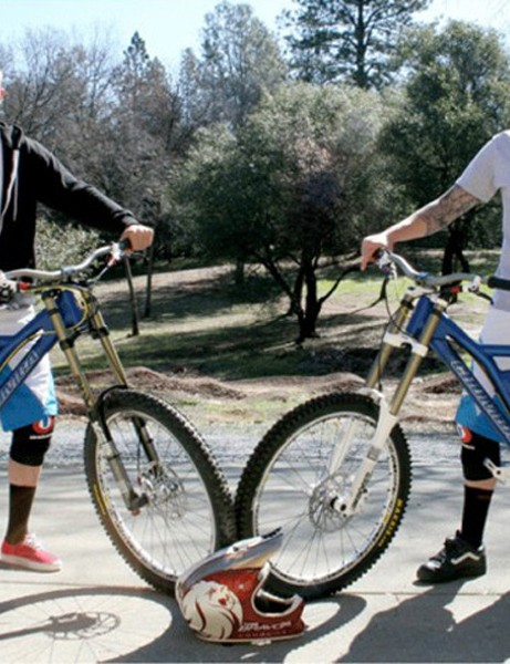 Brad Benedict and Duncan Riffle with their new Chumba F5 downhill bikes