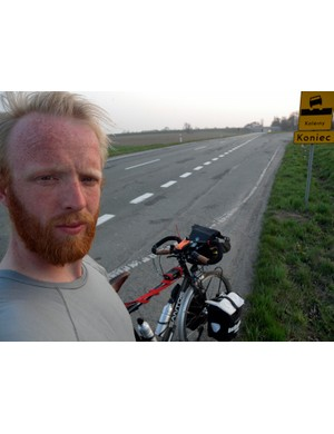 James Bowthorpe takes a break in Owczary, Poland, during his round-the-world trip