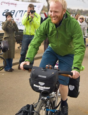 James Bowthorpe leaves London at the start of his round-the-world trip