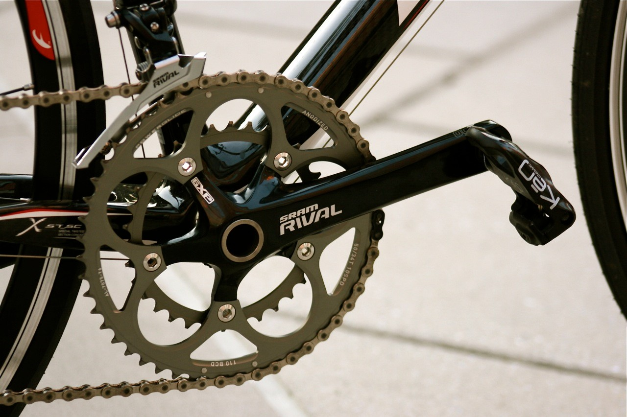 The SRAM Rival 10-speed gruppo performs like its higher-brow siblings.