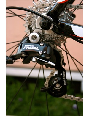 SRAM's Rivel gruppo shifts crisply and is  easy to adapt to for Shimano or Campy users.