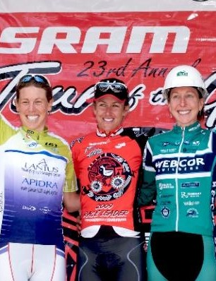Women's overall podium (L-R): Alison Powers (Team Type 1), Kristin Armstrong (Cervelo TestTeam) and Kathryn Mattis (Webcor Builders).