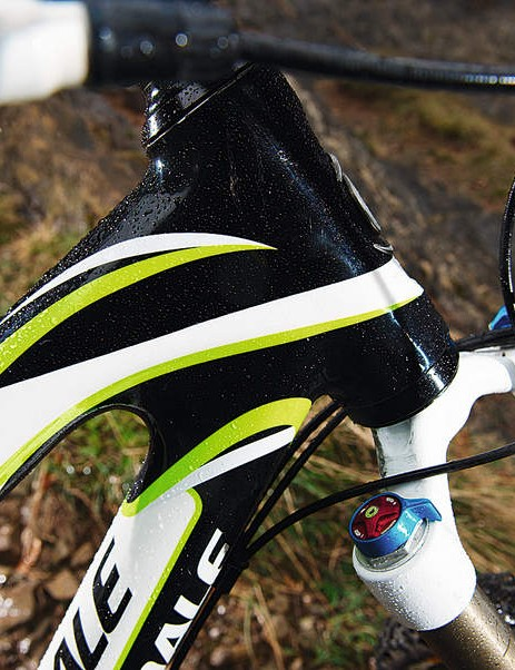 The carbon frame is an engineering and aesthetic highlight