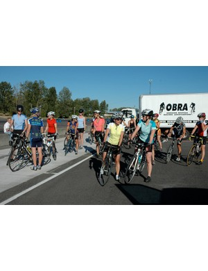 Riders get ready to roll out for their clinic in 2008.