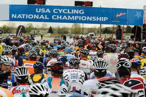 Division 1 men's road race start at Colorado State University's Hughes Stadium in 2008.
