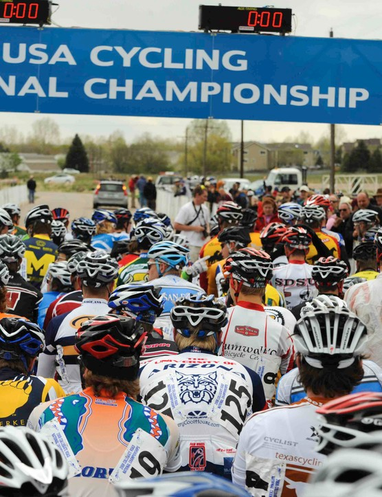 Division 1 men's road race start at Colorado State University's Hughes Stadium in 2008.
