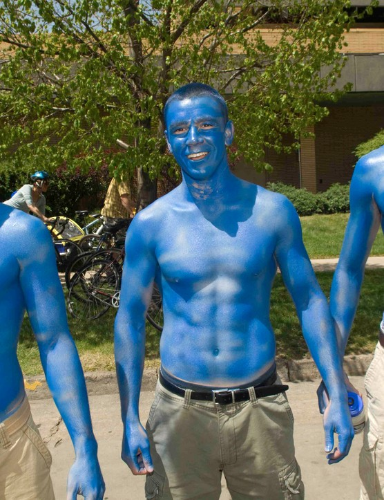 Air Force Academy fans root on their team at last year's criterium in downtown Fort Collins, Colorado.