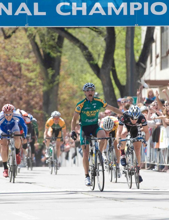 Phil Mann of host Colorado State University wins the Division I criterium in 2008.