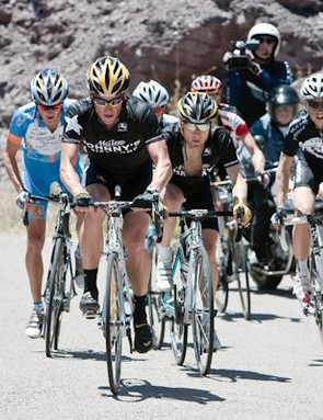 Lance Armstrong gets practice as a domestique working for Levi Leipheimer at the Tour of the Gila