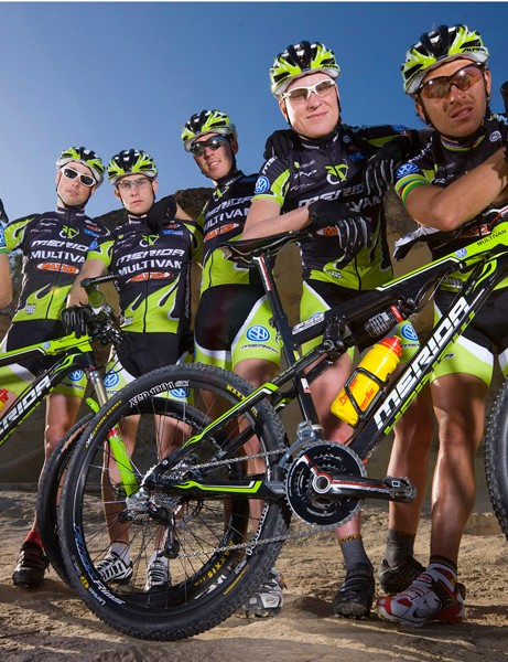 The Multivan Merida Biking Team show off their new bikes at the team launch in Majorca