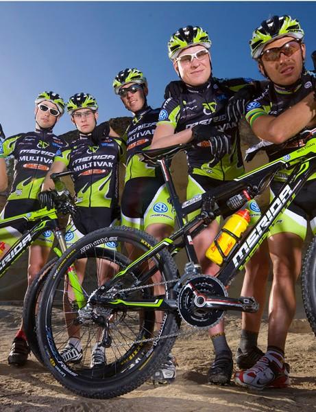 The Multivan Merida Biking Team show off their new bikes at the team launch in Majorca