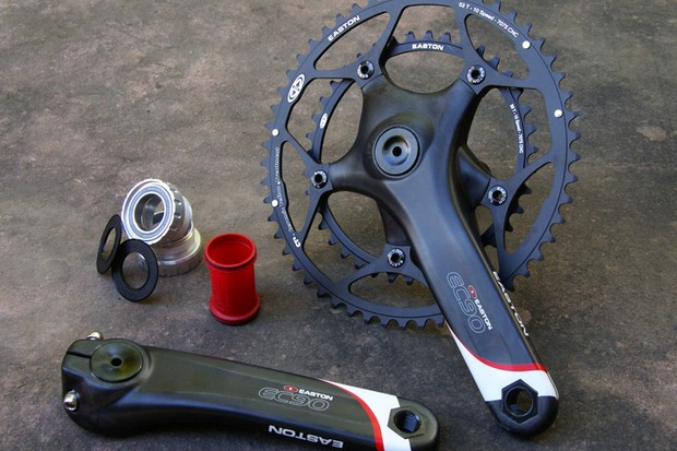 Easton's EC90 road crank is notably lighter than the Shimano Dura-Ace equivalent but also admirably close in stiffness