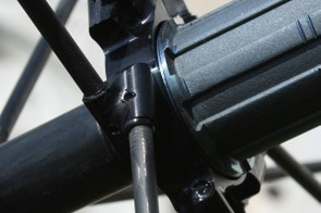 Driveside spokes are bonded into an aluminium flange …