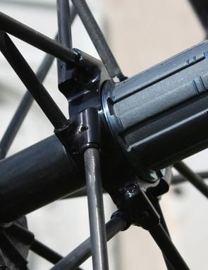 Driveside spokes are bonded into an aluminium flange …
