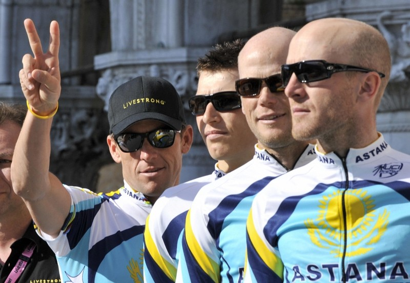 Lance Armstrong (L) with his Astana teammates at the Giro d'Italia presentation in Venice