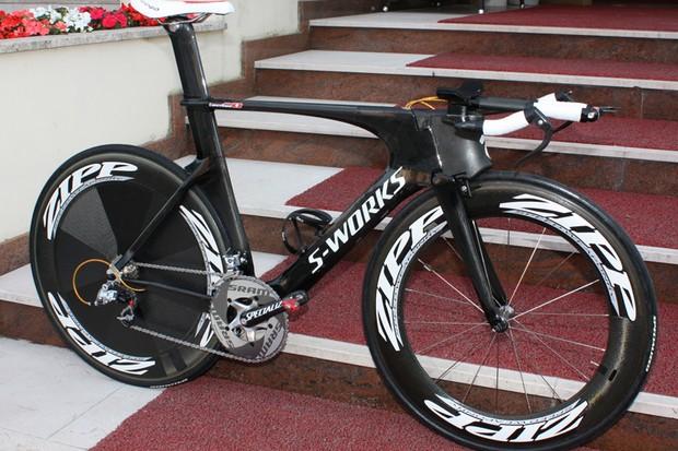 Fabian Cancellara (Saxo Bank) has a new time trial bike for this year's Giro d'Italia.