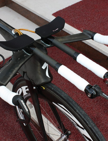 Cancellara's bars are fitted with straight extensions.