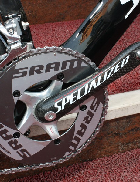 The Specialized integrated carbon crank is fitted with SRAM's more aerodynamic - and presumably stiffer - time trial outer chainring.